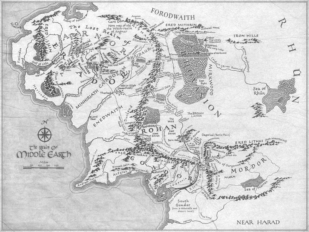 Karte von Tolkiens Mittelerde.